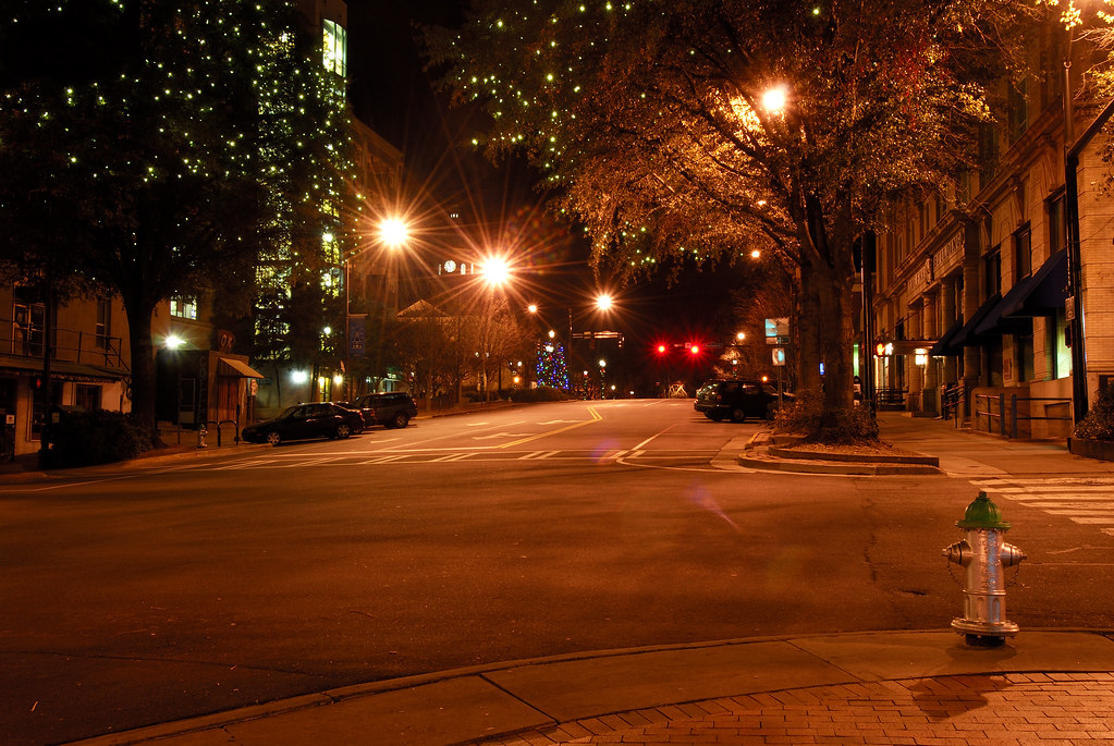 College Avenue Decorated for Christmas in Athens