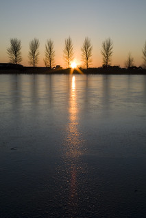 Sunset on Frozen Lake