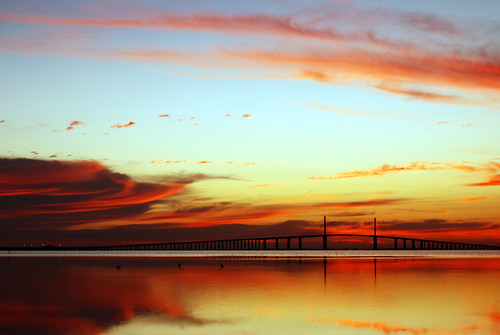 usa reflection water beauty america sunrise wow bay amazing bright tampabay florida sweet unique stunning oranges colourful saintpetersburg 50th reds mybirthday breathtaking ftdesoto sunshineskywaybridge michaelskelton michaeldskelton michaeldskeltonphotography