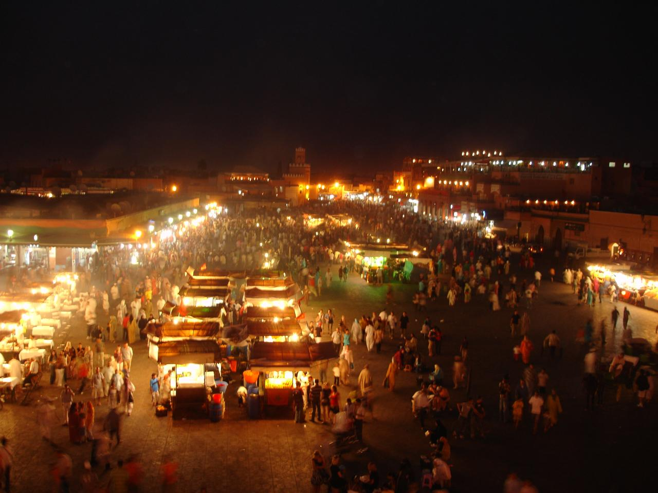 Jemaa el-Fna Square by night in Marrakech