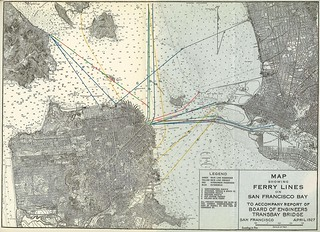 Map Showing Ferry Lines on San Francisco Bay to Accompany Report of Board of Engineers Transbay Bridge (1927)