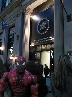 Spider-Man in line for the Royal Canadian Mint Pavilion (during the Vancouver 2010 Olympics)