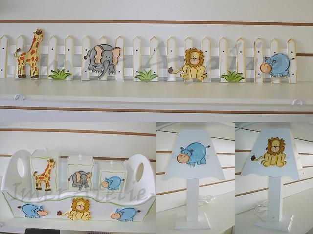kit bebe bichinhos cerquinha para enfeita parede, portatrecos e abajur  Fli