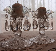 Hobnail glass candlesticks