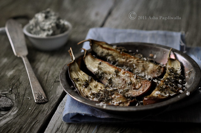 Roasted Aubergine with Herb salt and butter
