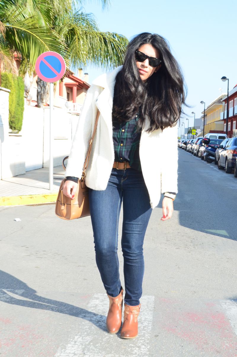 florenciablog chaqueta fieltro inspiration tartan cream jacket casual look bloggers gandia (8)