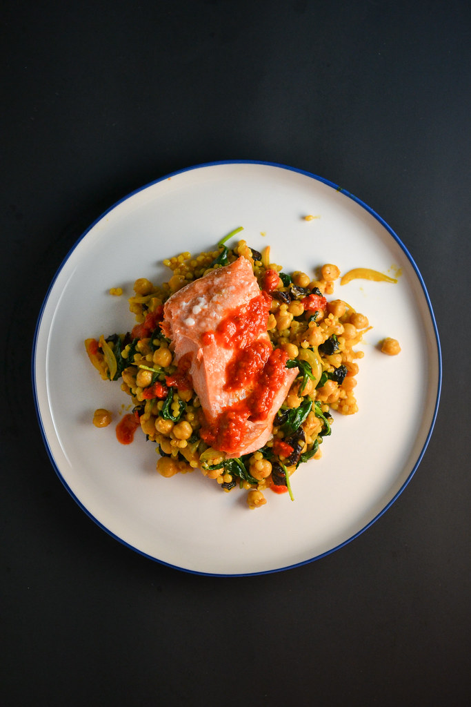 Spicy Salmon with Israeli Couscous and Chickpeas | Things I Made Today