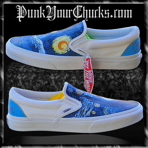 7c0ad5df6e4f26 Van Gogh Painted Custom Converse Sneakers Hand Painted 100