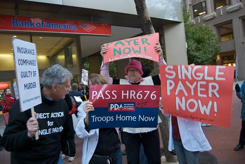 Health care protest in front of United Health