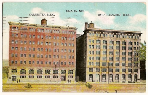 Old Vintage Postcard of Omaha, Nebraska, 1909 carpenter building and Byrne-Hammer building