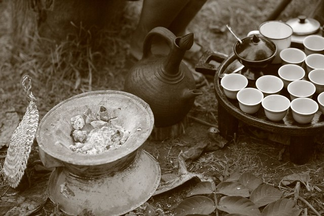 Ethiopia coffee ceremony at Aregash Lodge, Yirg Alem, Ethiopia