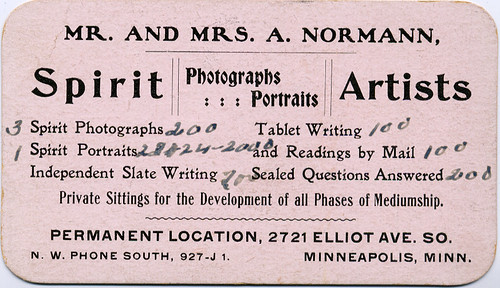 Spirit Portraits Advertising Card, Back