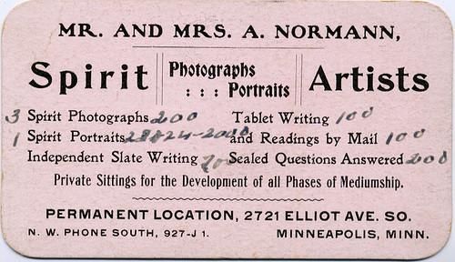 Spirit Portraits Advertising Card, Back