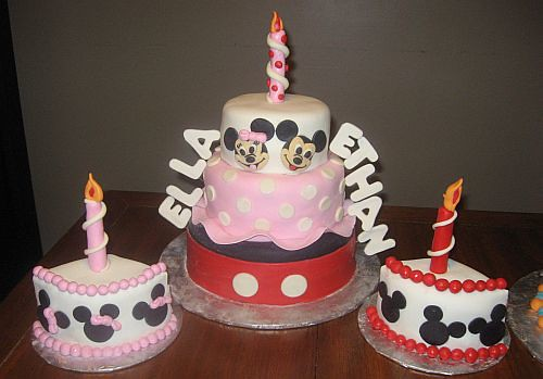 mickey and minnie birthday cakes for twins