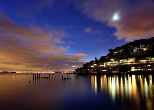 sanfrancisco california ca city morning bridge moon reflection clouds sunrise landscape dawn bay san francisco long exposure downtown baybridge alcatraz pilings sausalito
