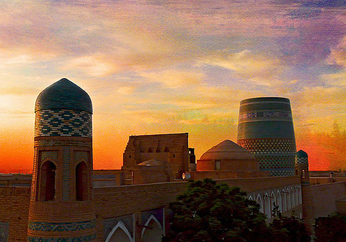 sunset sky building tree texture wall architecture mosaic minaret tiles dome colourful uzbekistan distillery khiva rememberthatmomentlevel4 rememberthatmomentlevel1 rememberthatmomentlevel2 rememberthatmomentlevel3 rememberthatmomentlevel9 rememberthatmomentlevel5 rememberthatmomentlevel6 rememberthatmomentlevel10