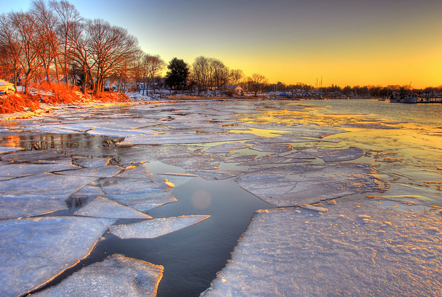 Broken ice on the Branford River
