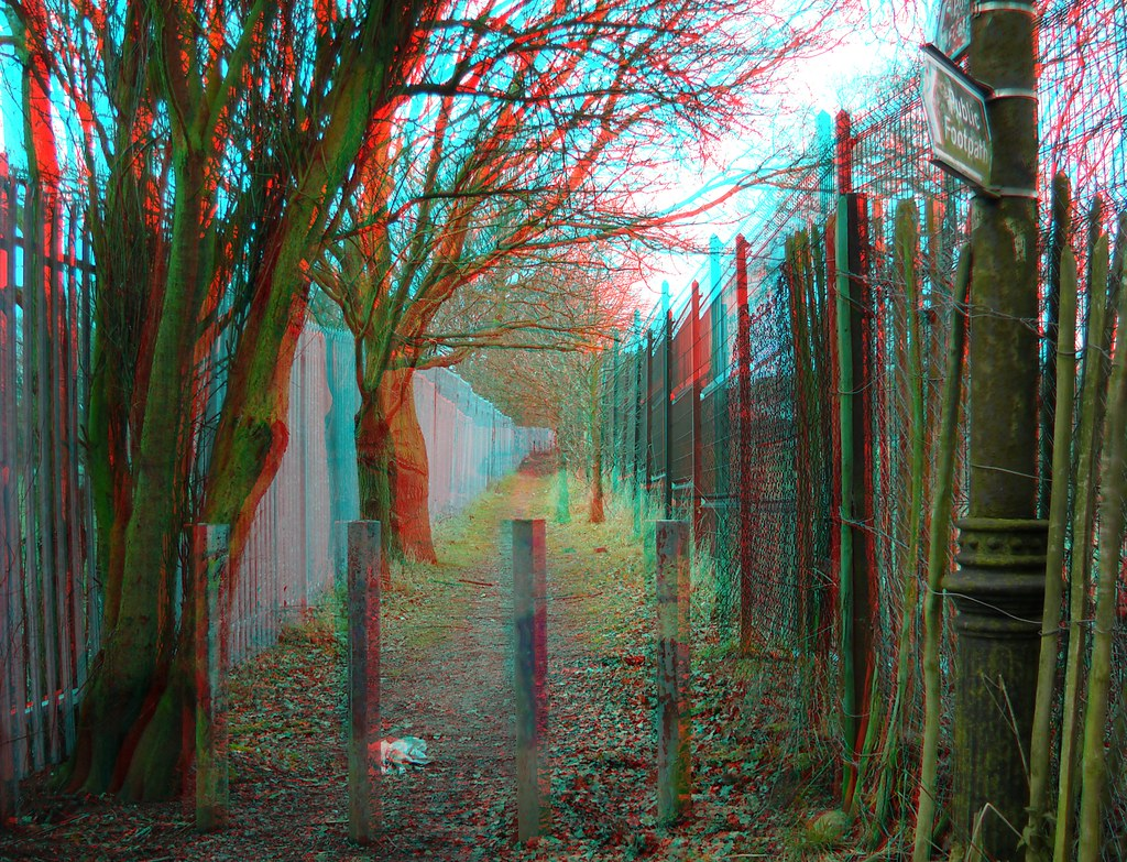 Public Footpath In Chislehurst 3D Anaglyph Red Blue (or