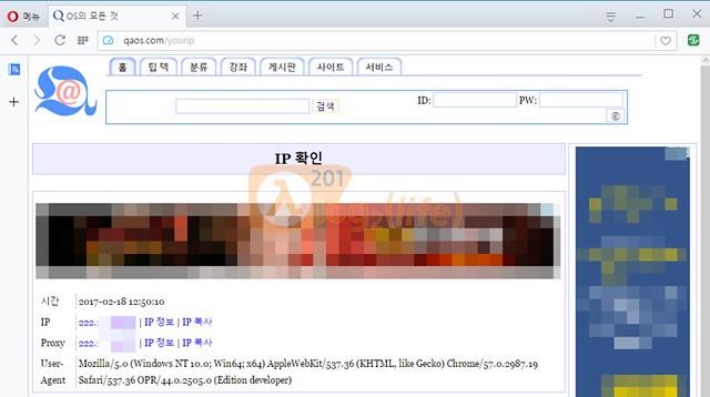 QAOS.com의 IP 확인 서비스