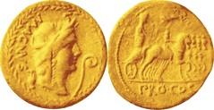 RRC 71BC 402/1 Aureus Africa wreath MAGNVS Pompey in triumphal quadriga PRO COS