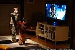 acting out transformers below the big screen (like r…