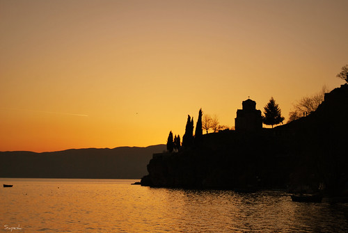 sunset lake beach church water silhouette three boat nikon religion macedonia ohrid 1855mm nikkor jovan sv d60 ortodox kaneo