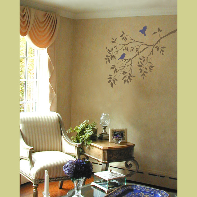 Wall Art Decor Stencils : Wall art reusable stencils tree branches and birds