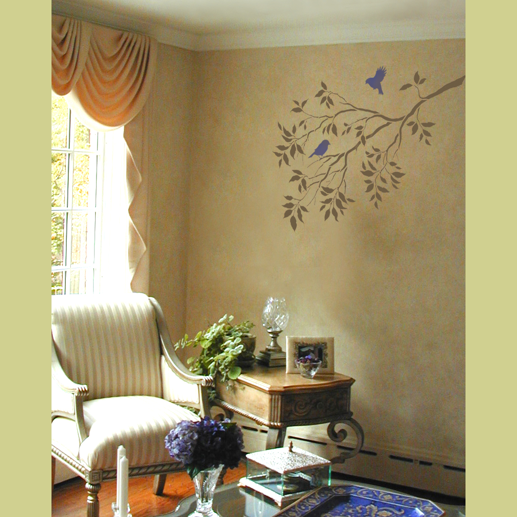 Wall art reusable wall stencils tree branches and birds for Beautiful wall art