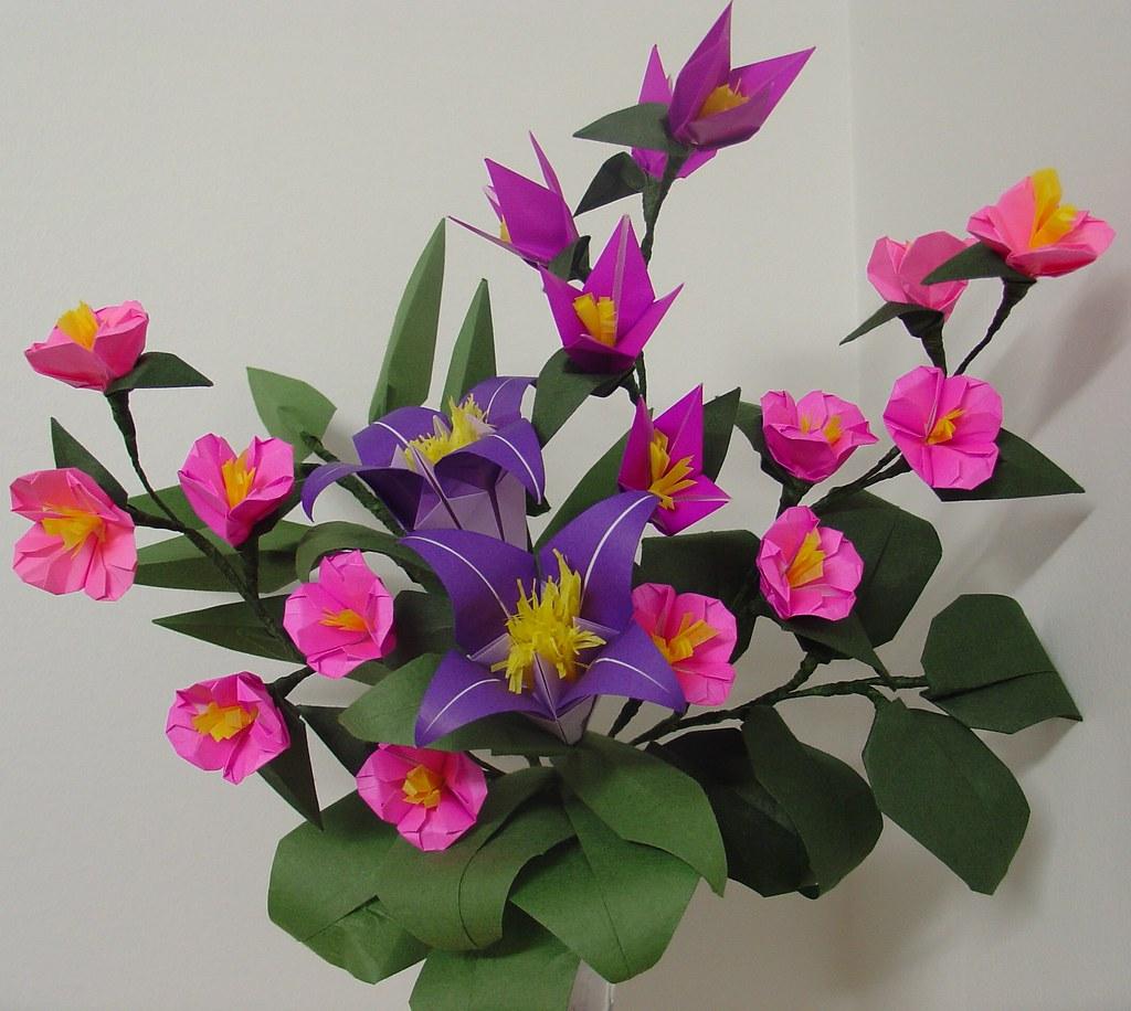 Washinoyas most recent flickr photos picssr washinoya origami purple lilies cherry blossoms mightylinksfo