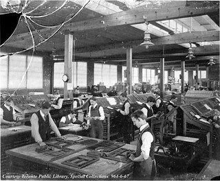 Copeland-Chatterson Company, loose-leaf systems factory composing room, Brampton, Ontario ca. 1905