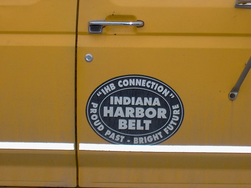 The Indiana Harbor Belt Railroad logo on the side of a Maintenance of way dept vechicle. Argo Yard. Summit Illinois. January 2007. by Eddie from Chicago