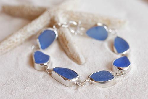 Blue sea glass bezel set bracelet