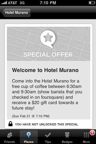 Foursquare special @ Hotel Murano