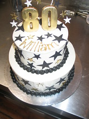 2 Tier Birthday Cake White Butter Icing Black Gold Star Flickr