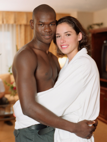 interracial black woman white man