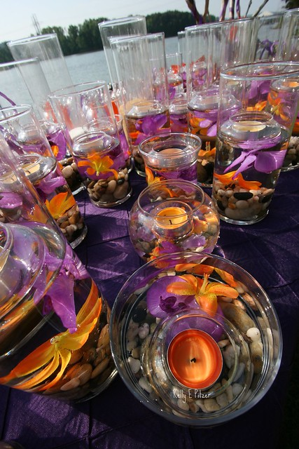 purple and orange wedding no two centerpieces were alike