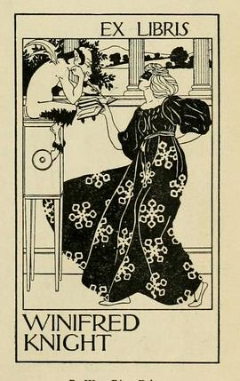 Bookplate of Winifred Knight by William Edgar Fisher