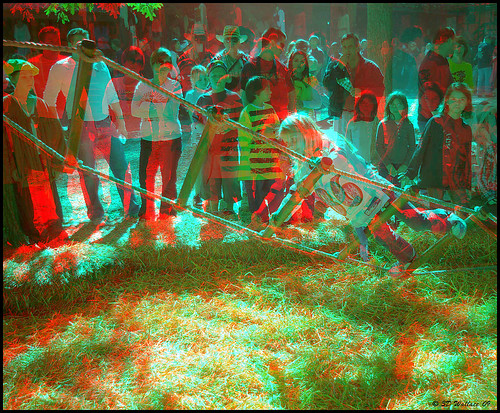 costumes people girl festival fun outside outdoors stereoscopic 3d md village child brian maryland kingdom social fair anaglyph rope medieval event stereo wallace faire balance ladder jacobs tilt festivities dressed renaissance challenge crownsville peasant wench 16thcentury realm stereoscopy wooded stereographic periodclothing brianwallace