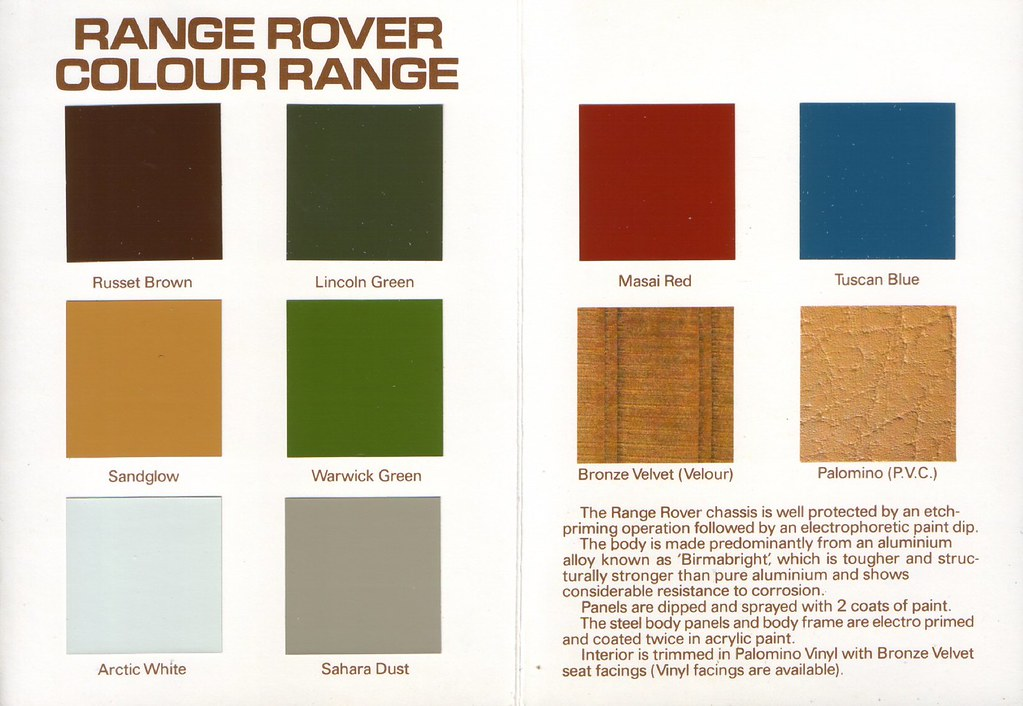 1981 Range Rover Colour And Trim Chart Inner A Photo