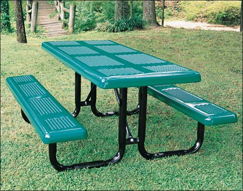 rectangular perforated metal picnic table flickr photo