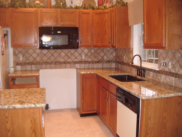 Kitchen Light Granite Countertops Dark Cabinets