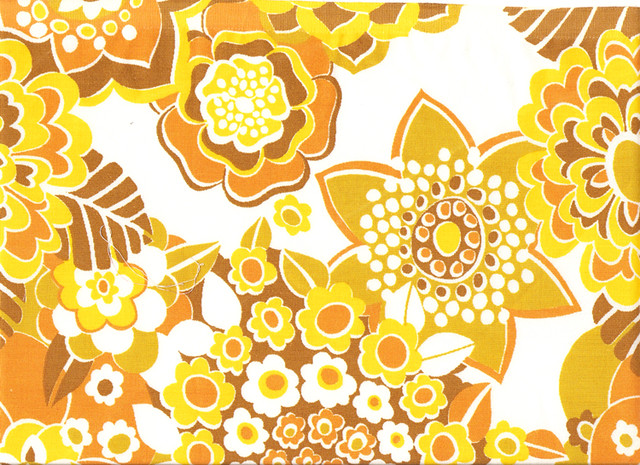 Orange & Brown Flower Pattern Vintage Textile