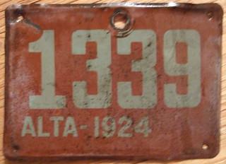 ALBERTA 1924 STEAM TRACTOR plate