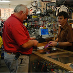 Dan Gargan (left) in line to buy the first disc from Jake Jacobson of Turin Bicycles, May 2005.
