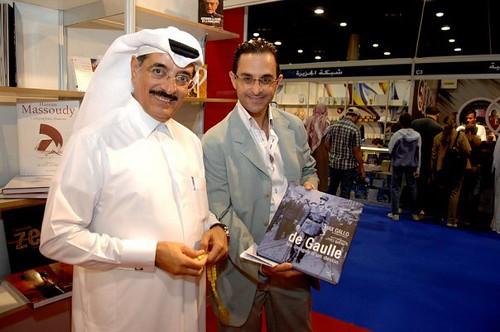 Au Doha Exhibition Center (Qatar). Arash Derambarsh et S.E. Hamad Bin Abdulaziz Al Kuwari, Ministre de la culture, de l'art et du patrimoine