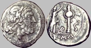 95/2 VB Half Victoriatus, Jupiter Victory trophy, S for Semis mark. Uncertain Italian mint perhaps Vibo Valentia. 212-208BC. Very rare denomination