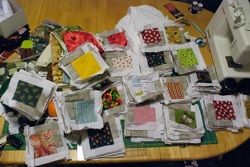 15 Feb 2010 - 22:28 - The pieces of the Red Librarian quilt, sorted by fabric and ready to sew