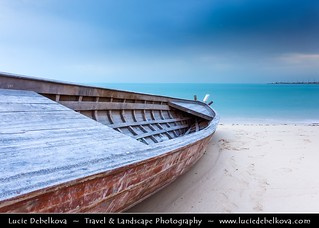 Qatar - Lonely Boat Standing Alone on Shores of Al Wakrah