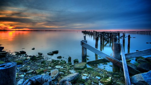 old longexposure sunset sky water night clouds river pier moss rocks cloudy pastel widescreen hdr jamesriver