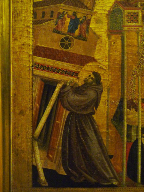 Giotto, St. Francis of Assisi Receiving the Stigmata, c. 1295-1300 with detail of Francis Bracing Church